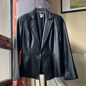 Cache black genuine leather blazer